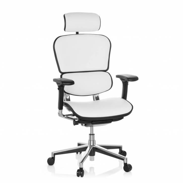 Keystone-Stuhl Leder mit Kopfstütze, weiß