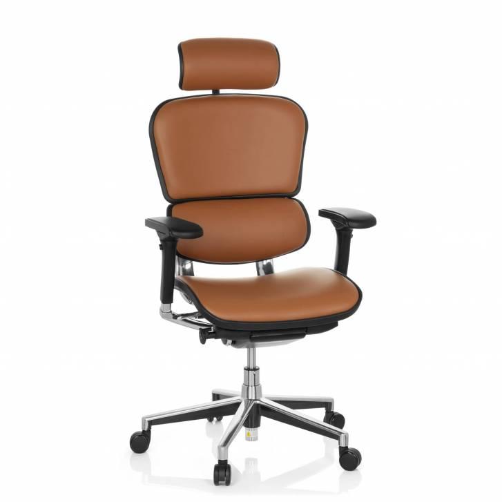 Keystone-Stuhl Leder mit Kopfstütze, latte