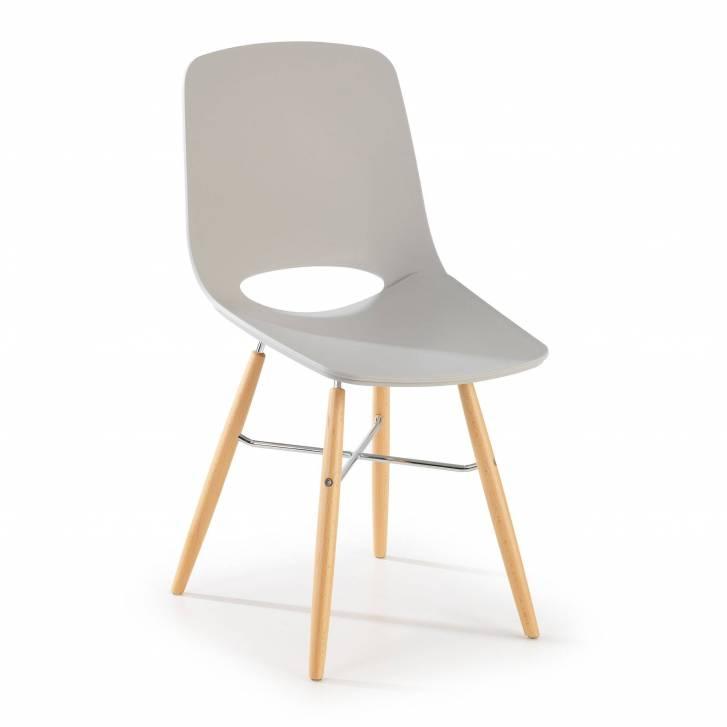 Joy Stuhl mit Holzbeinen grau
