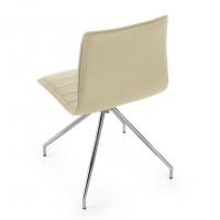 Cube Chair Swivel Chrome Beige