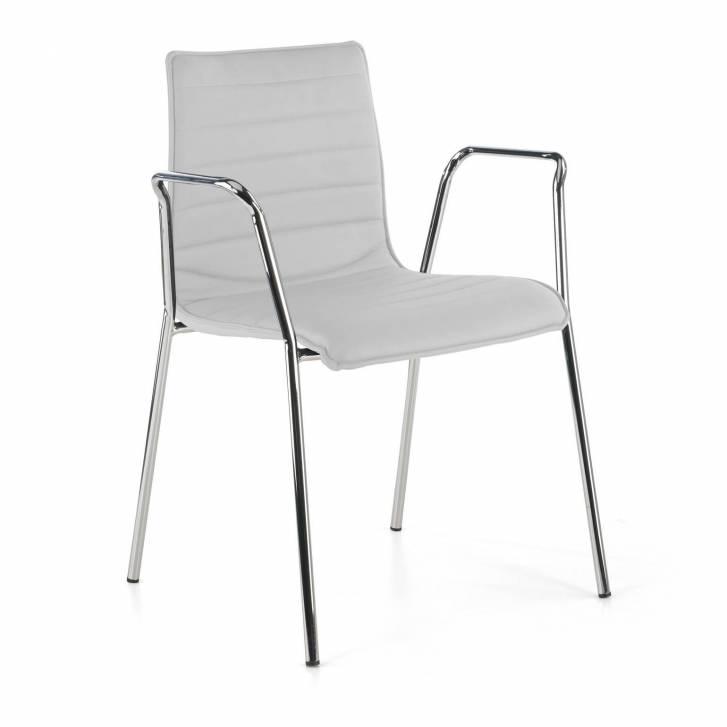 Cube Stuhl 4 Beine mit verchromten Armlehnen weiß