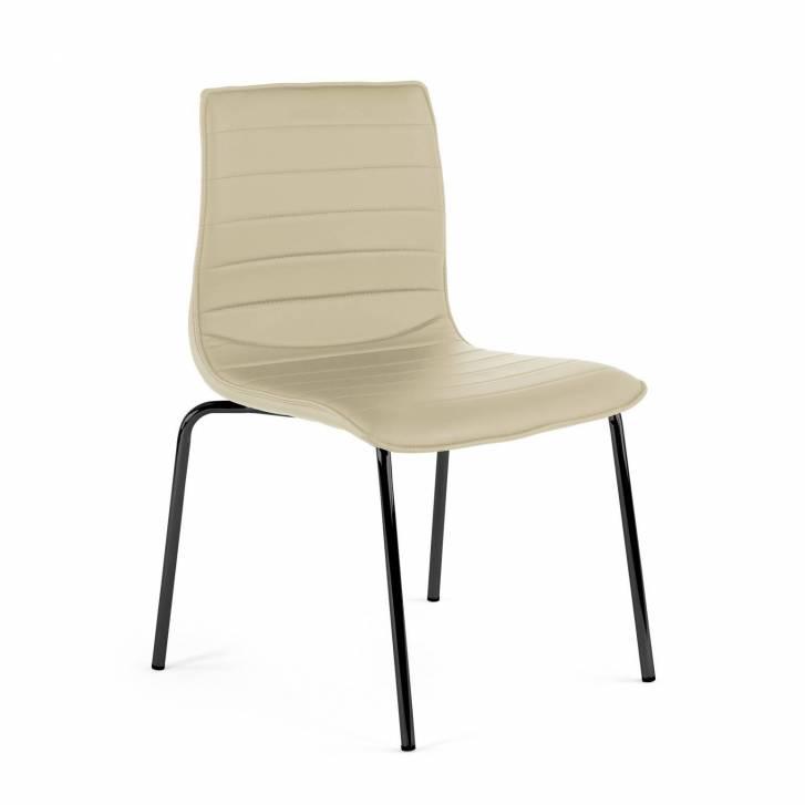 Cube Stuhl 4 Beine schwarz, beige