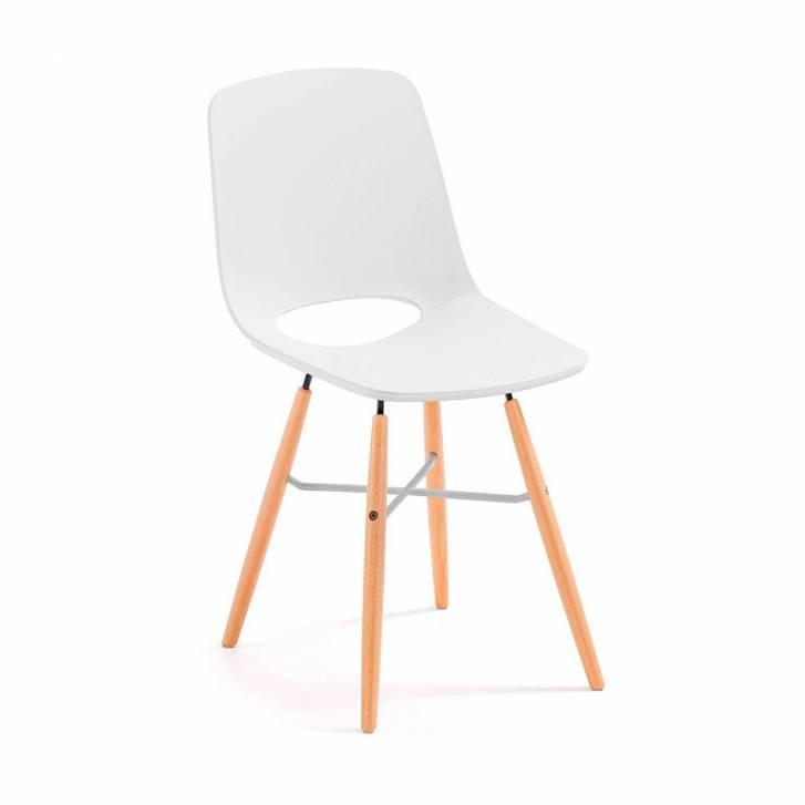 Joy Stuhl mit Holzbeinen weiß