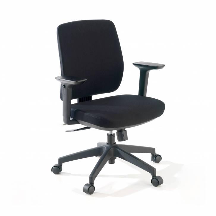 Wind Stuhl, Rückenlehne niedrig, Stoff mit Armlehnen, schwarz