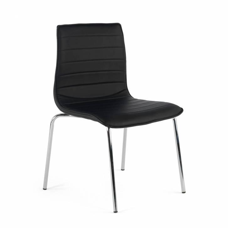 Cube Chair 4-legged Chrome Black